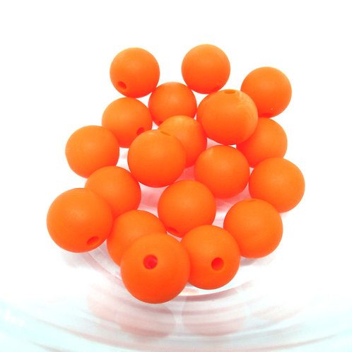 10 Perles Silicone 12mm Orange