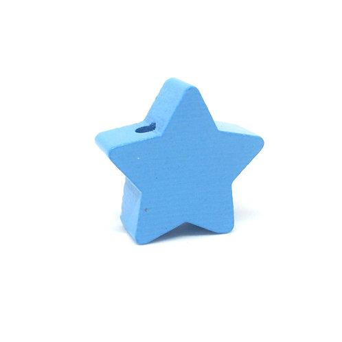 perle bois etoile bleu clair