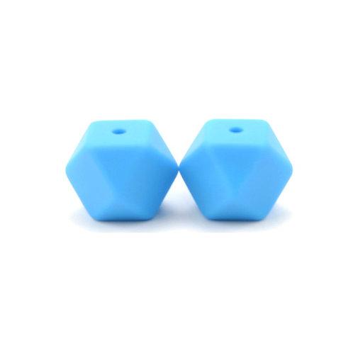 2 Perles Silicone Hexagonales 14mm Bleu Royal