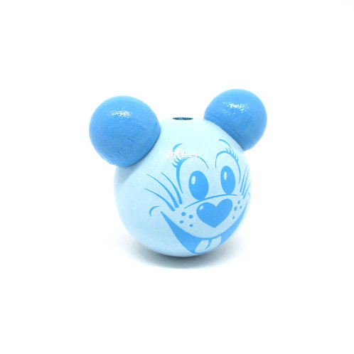 Perle en Bois 3D Tête de Souris Bleu Tendre & Bleu Ciel