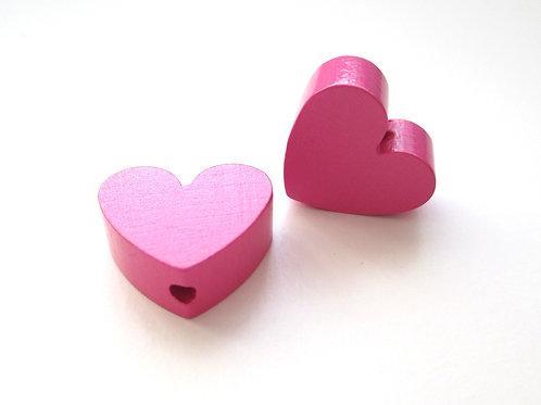 Perle en Bois Petit Coeur Rose Foncé