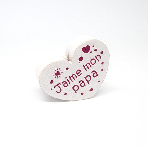 Perle en Bois Coeur J'aime mon Papa Blanc & Fuchsia