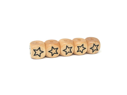 5 Perles en Bois Cube Etoile