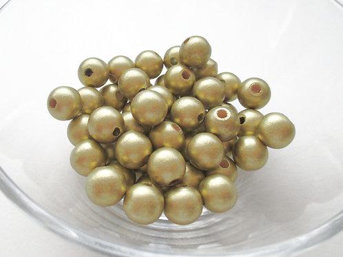 25 Perles en Bois 12mm Or