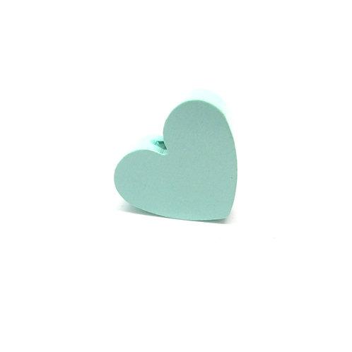 Perle en Bois Petit Coeur Mint