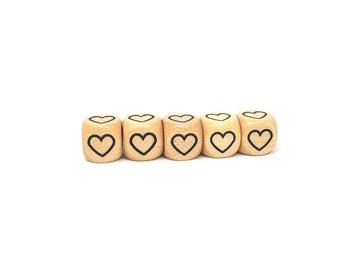 5 Perles en Bois Cube Coeur