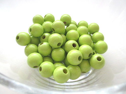 25 Perles en Bois 12mm Vert Anis