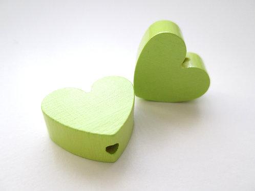 Perle en Bois Petit Coeur Vert Anis