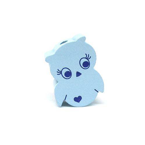Perle en Bois Petite Chouette Bleu Tendre