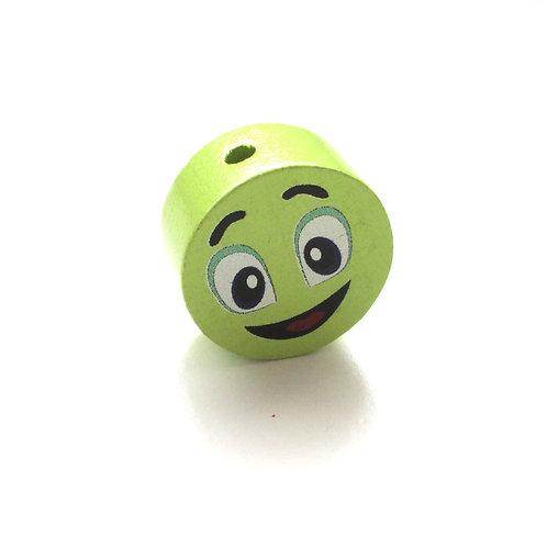 Perle en Bois 20mm Smiley Vert Anis
