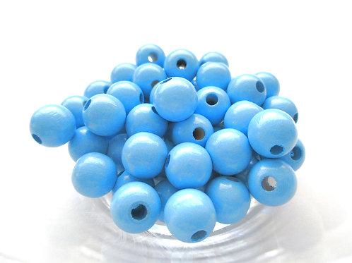 50 Perles en Bois 10mm Bleu Ciel