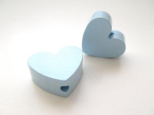 Perle en Bois Petit Coeur Bleu Tendre
