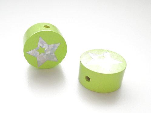 Perle en Bois 20mm Etoile Glitter Vert Anis