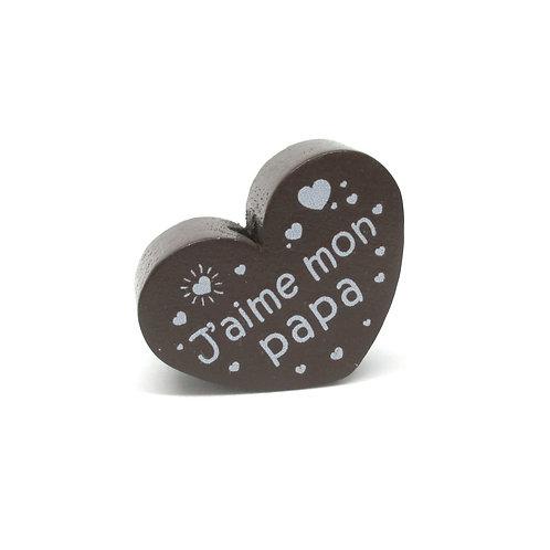 Perle en Bois Coeur J'aime mon Papa Chocolat