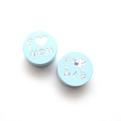 Perle en Bois I Love Mom-Dad Glitter Bleu Tendre