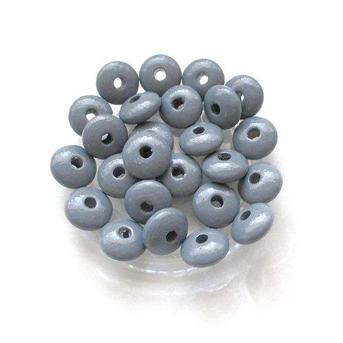 50 Perles en Bois Plates Gris Foncé