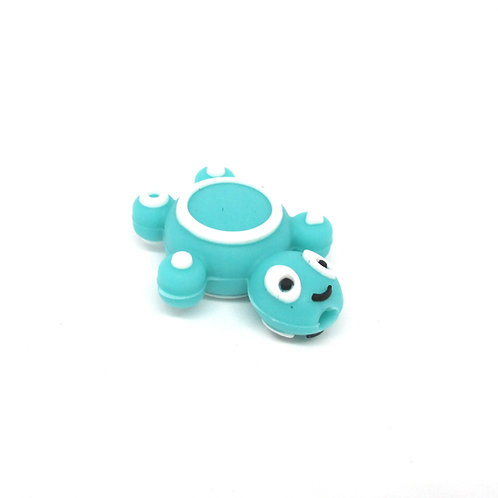 Perle Tortue Silicone Turquoise