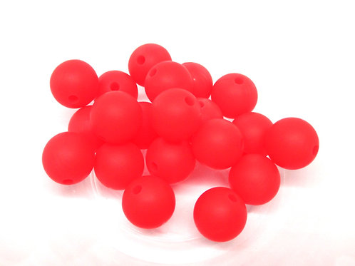 10 Perles Silicone 12mm Rouge