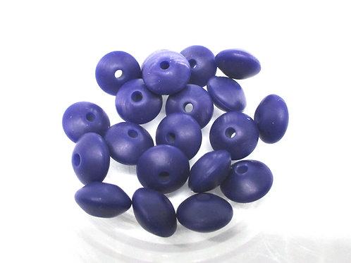 10 Perles Plates Silicone Bleu Marine