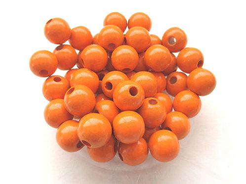 25 Perles en Bois 12mm Mandarine