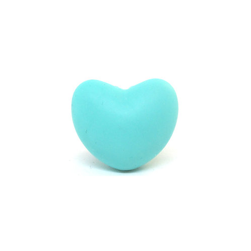 Perle Coeur Silicone Turquoise Clair