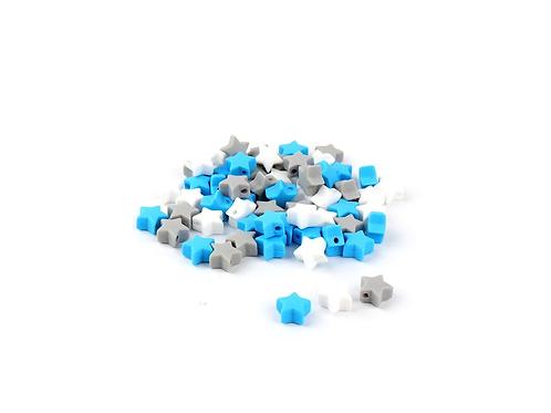 10 Perles Petite Etoile Silicone Blanc Bleu Royal Gris Clair