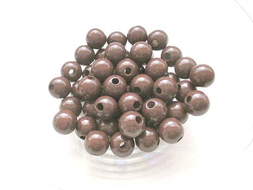 Lot de 25 Perles en Bois 12mm Chocolat