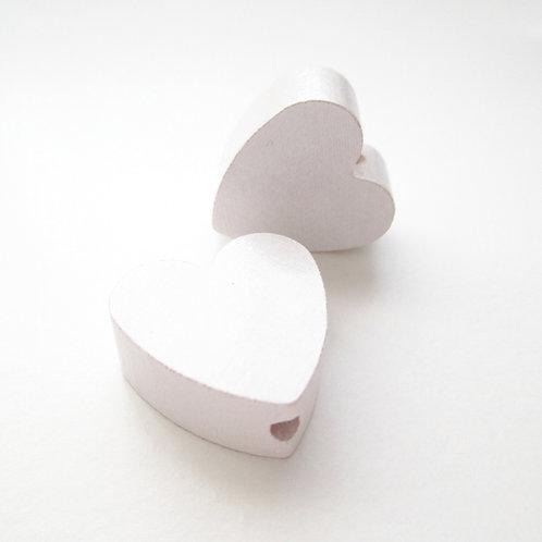 Perle en Bois Petit Coeur Blanc