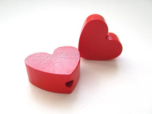 Perle en Bois Petit Coeur Rouge