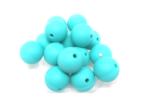 10 Perles Silicone 15mm Turquoise