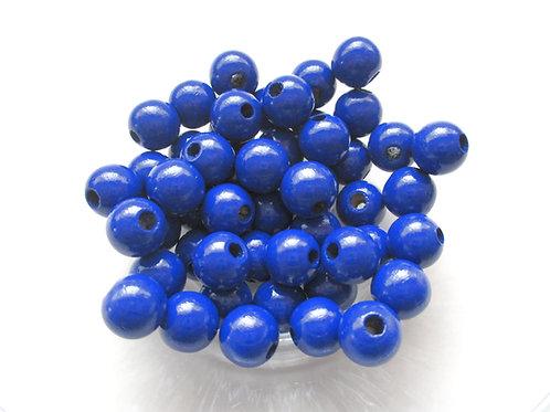 25 Perles en Bois 8mm Marine