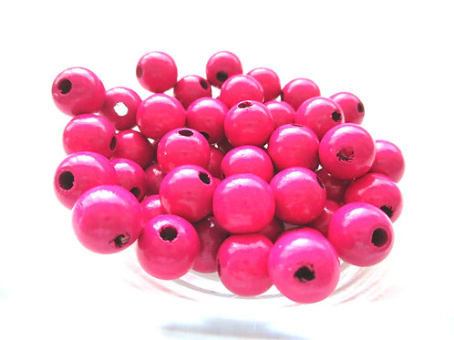 50 Perles en Bois 8mm Fuchsia