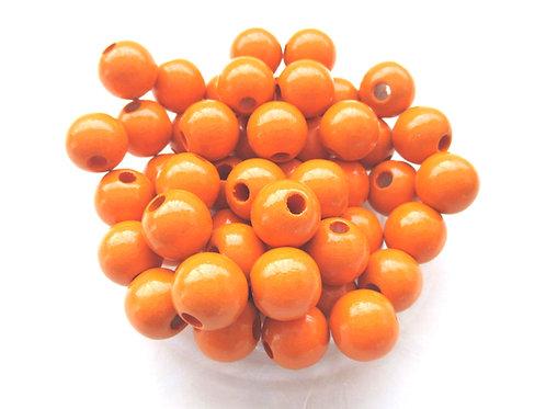50 Perles en Bois 8mm Mandarine