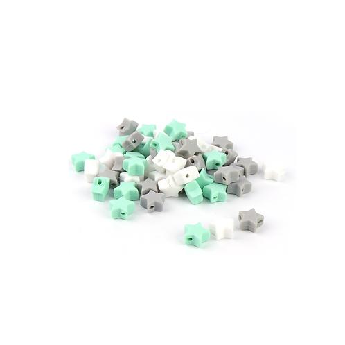 10 Perles Petite Etoile Silicone Blanc Mint Gris Clair