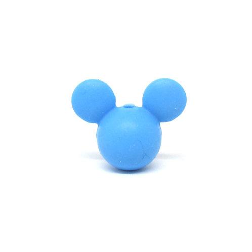 Perle Petit Mickey 3D Silicone Bleu Royal