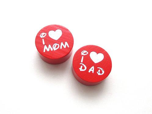 Perle en Bois I Love Mom-Dad Glitter Rouge