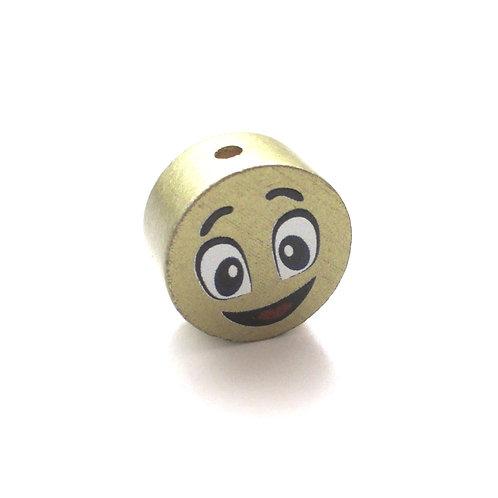 Perle en Bois 20mm Smiley Or