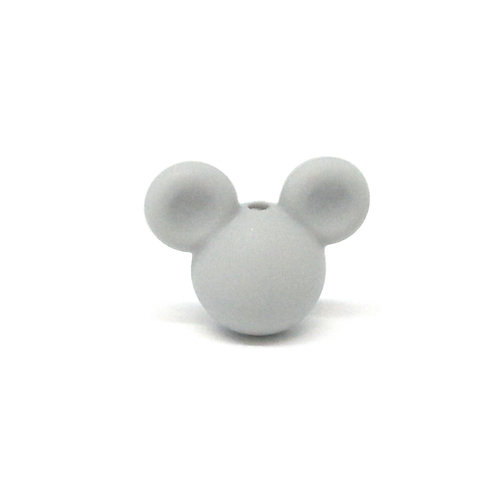 Perle Petit Mickey 3D Silicone Gris Clair