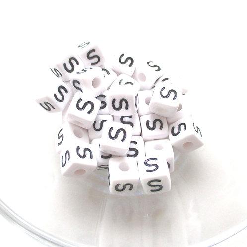10 Perles Alphabet Acrylique - Lettre S