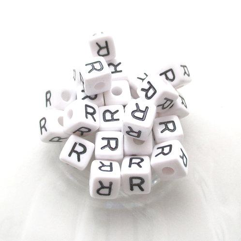 10 Perles Alphabet Acrylique - Lettre R