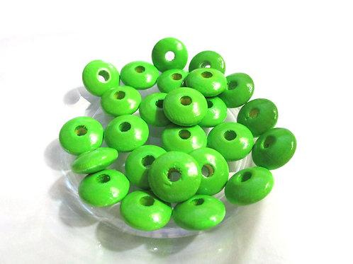 25 Perles en Bois Plates Vert Pomme