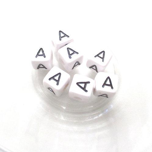 10 Perles Alphabet Acrylique - Lettre A