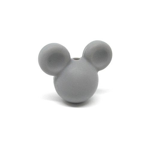 Perle Petit Mickey 3D Silicone Gris Foncé