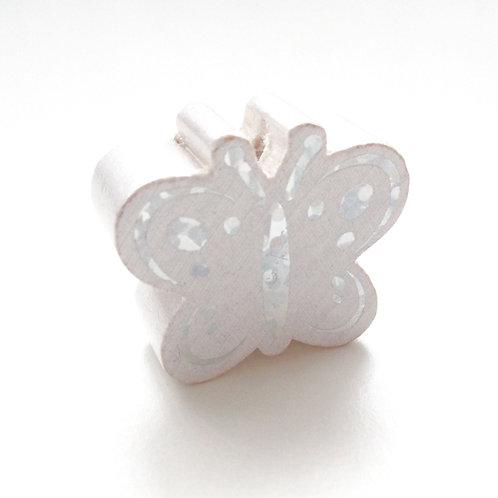 Perle en Bois Papillon Glitter Argent Blanc