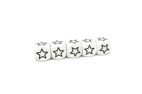 5 Perles en Bois Blanc Cube Etoile
