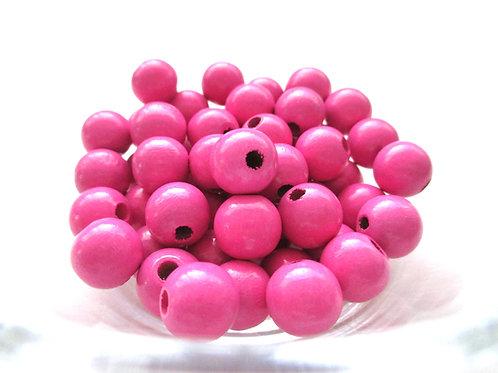 50 Perles en Bois 10mm Rose Foncé