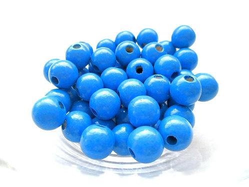 25 Perles en Bois 10mm Bleu Royal