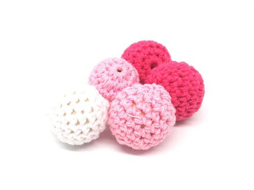 5 Perles en Bois et Crochet 20mm Blanc Rose Fuchsia