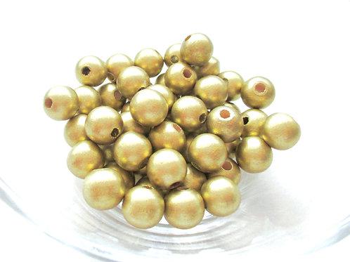 50 Perles en Bois 8mm Or