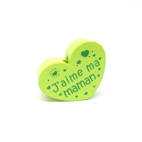 Perle en Bois Coeur J'aime ma Maman Vert Anis